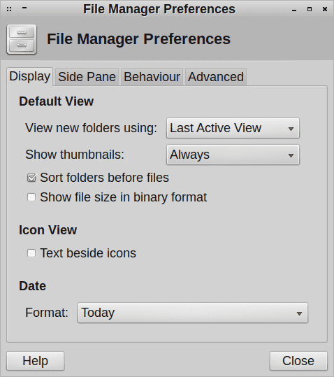 file manager preferences